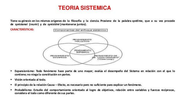 TEORÍA SISTÉMICA Teleología: El principio de la relación Causa – Efecto, es necesario pero no suficiente para explicar un...