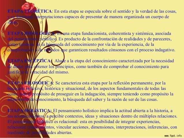 ETAPA TEORÉTICA: En esta etapa se especula sobre el sentido y la verdad de las cosas,y se formulan interpretaciones capace...
