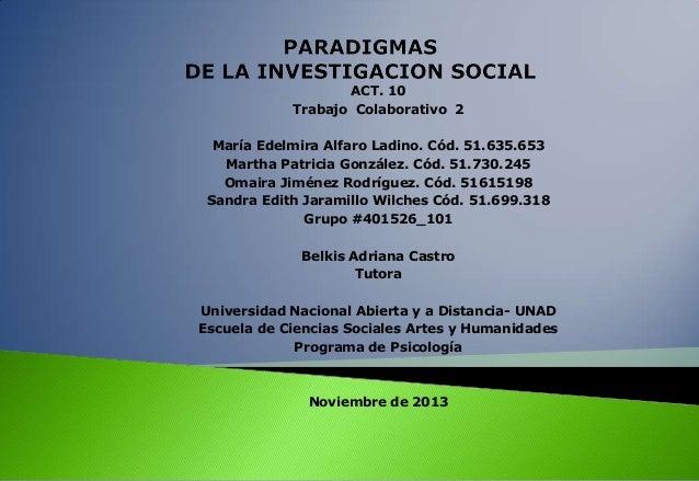 ACT. 10 Trabajo Colaborativo 2 María Edelmira Alfaro Ladino. Cód. 51.635.653 Martha Patricia González. Cód. 51.730.245 Oma...