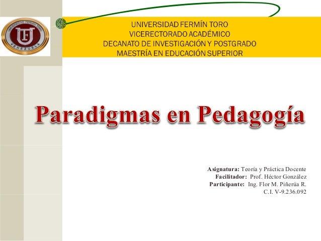 Asignatura: Teoría y Práctica Docente Facilitador: Prof. Héctor González Participante: Ing. Flor M. Piñerúa R. C.I. V-9.23...