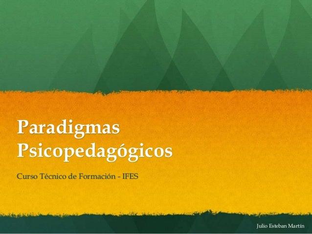 Julio Esteban Martín Paradigmas Psicopedagógicos Curso Técnico de Formación - IFES