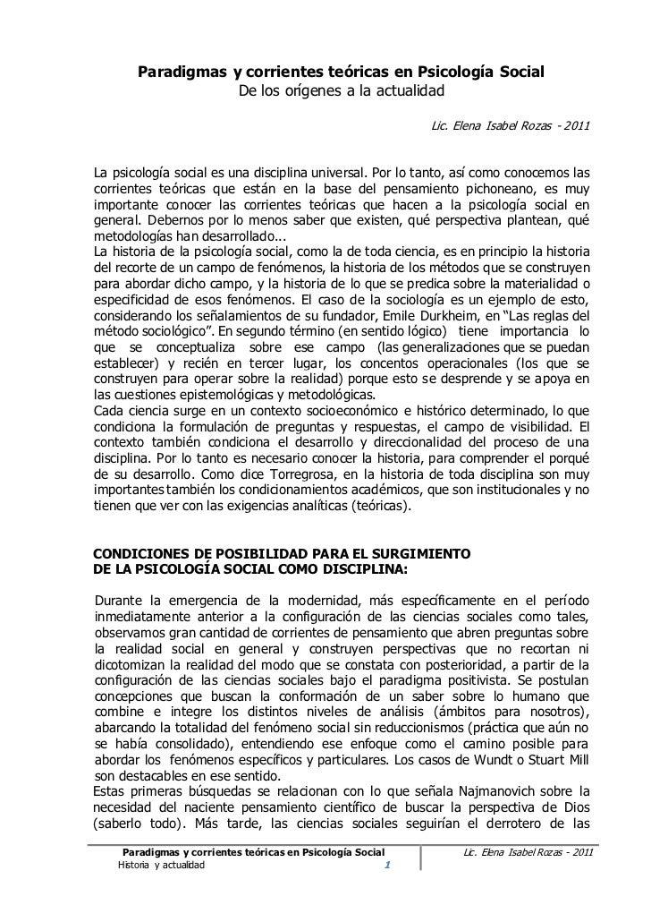 Paradigmas y corrientes teóricas en Psicología Social                   De los orígenes a la actualidad                   ...