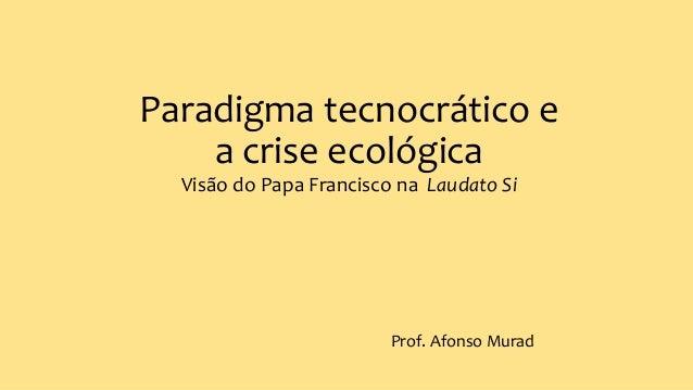 Paradigma tecnocrático e a crise ecológica Visão do Papa Francisco na Laudato Si Prof. Afonso Murad