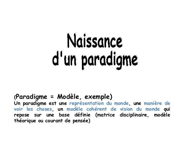 (Paradigme = Modèle, exemple)Un paradigme est une représentation du monde, une manière devoir les choses, un modèle cohére...