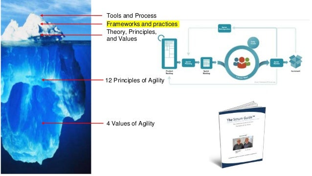Tools and Process Frameworks and practices Theory, Principles, and Values 12 Principles of Agility 4 Values of Agility