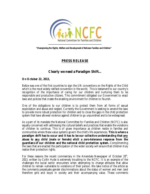 """""""Championing the Rights, Welfare and Development of Belizean Families and Children""""  PRESS RELEASE Clearly we need a Parad..."""