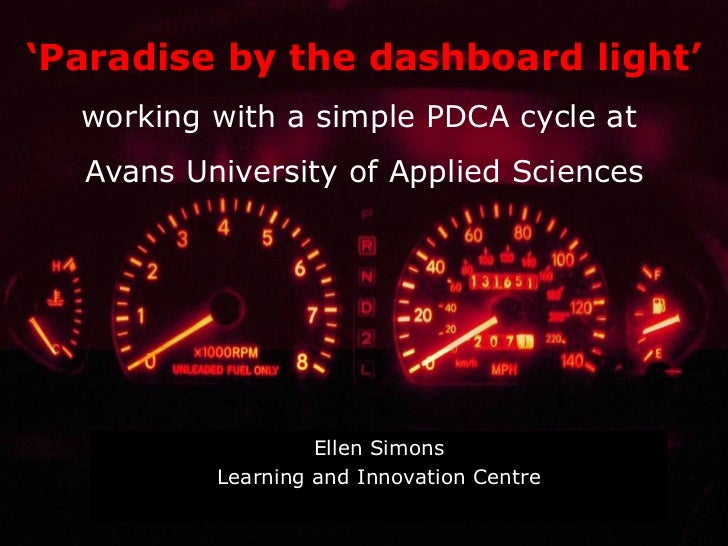Ellen Simons Learning and Innovation Centre ' Paradise   by  the dashboard light' working with a simple PDCA cycle at  Ava...