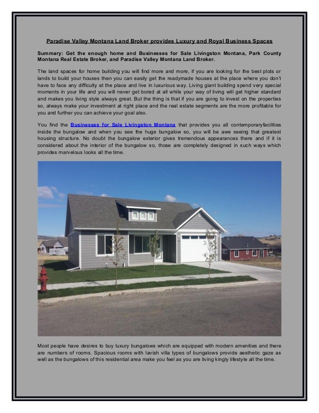 Paradise Valley Montana Land Broker Provides Luxury And Royal Business  Spaces Summary: Get The Enough ...