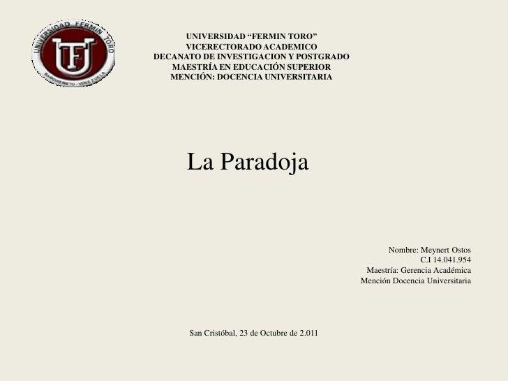 """UNIVERSIDAD """"FERMIN TORO""""     VICERECTORADO ACADEMICODECANATO DE INVESTIGACION Y POSTGRADO   MAESTRÍA EN EDUCACIÓN SUPERIO..."""