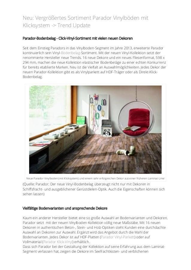 parador vinylboden mit klicksystem als vinylparkett oder. Black Bedroom Furniture Sets. Home Design Ideas