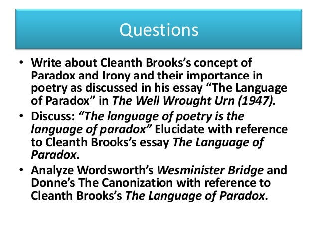 Cleanth Brooks The Language Of Paradox