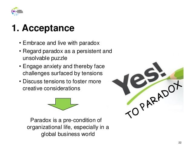 1. Acceptance 22 • Embrace and live with paradox • Regard paradox as a persistent and unsolvable puzzle • Engage anxiety a...