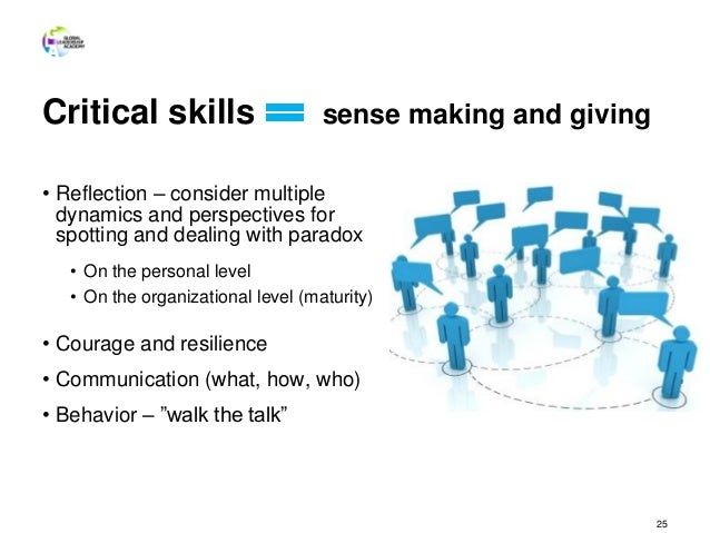 Critical skills sense making and giving • Reflection – consider multiple dynamics and perspectives for spotting and dealin...
