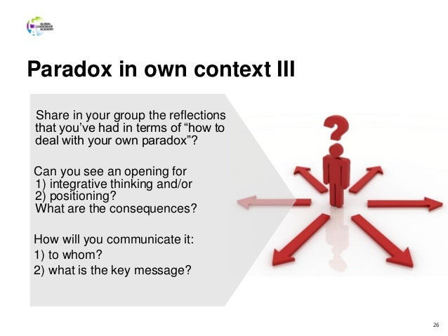 """Paradox in own context III 26 Share in your group the reflections that you've had in terms of """"how to deal with your own p..."""
