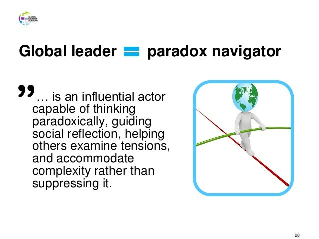 Global leader paradox navigator … is an influential actor capable of thinking paradoxically, guiding social reflection, he...