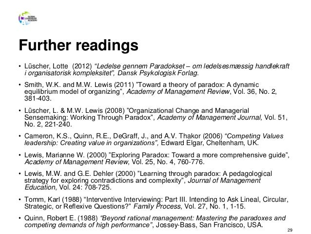 """Further readings • Lüscher, Lotte (2012) """"Ledelse gennem Paradokset – om ledelsesmæssig handlekraft i organisatorisk kompl..."""