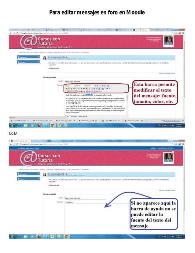 Para editar mensajes en foro en MoodleNOTA: