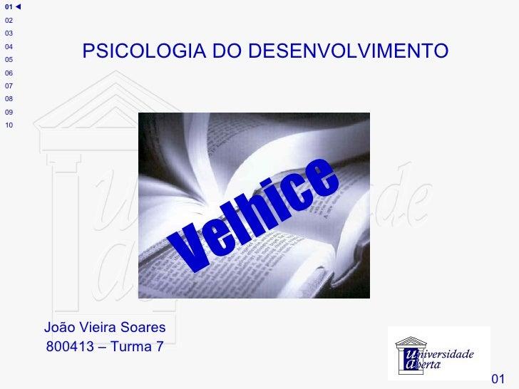 João Vieira Soares 800413 – Turma 7 Velhice # PSICOLOGIA DO DESENVOLVIMENTO 01 01    02 03 04 05 06 07 08 09 10
