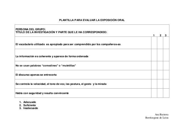 Ana Basterra Berritzegune de Leioa PLANTILLA PARA EVALUAR LA EXPOSICIÓN ORAL PERSONA DEL GRUPO: TÍTULO DE LA INVESTIGACIÓN...