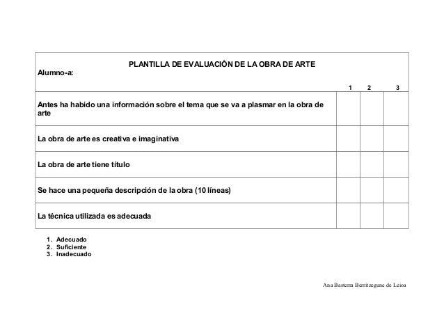 PLANTILLA DE EVALUACIÓN DE LA OBRA DE ARTE Alumno-a: 1 2 3 Antes ha habido una información sobre el tema que se va a plasm...