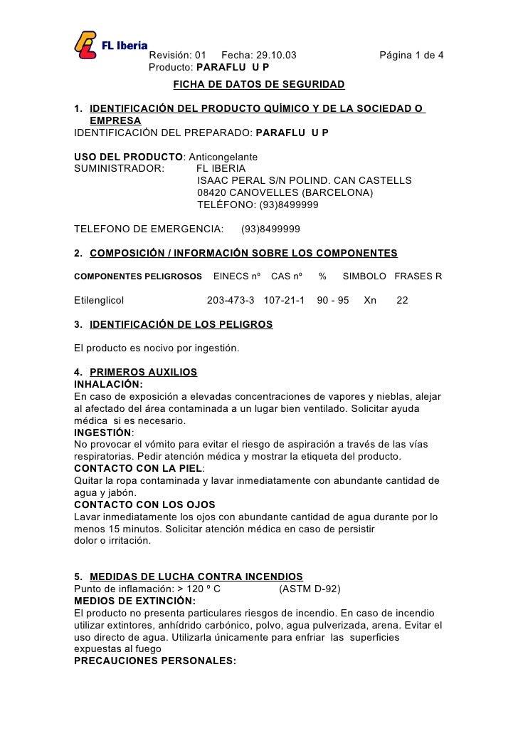 Revisión: 01 Fecha: 29.10.03                          Página 1 de 4                 Producto: PARAFLU U P                 ...
