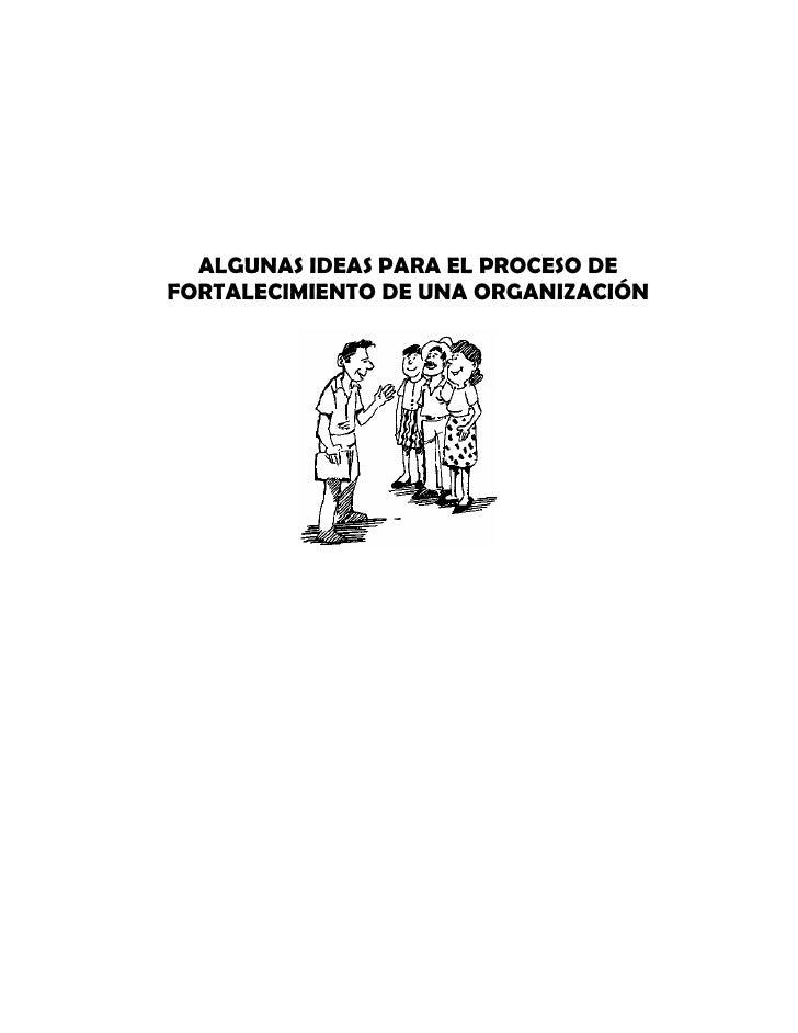 ALGUNAS IDEAS PARA EL PROCESO DEFORTALECIMIENTO DE UNA ORGANIZACIÓN