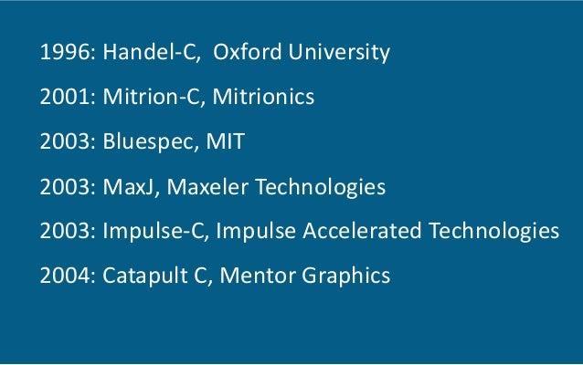 1996:  Handel-‐C,    Oxford  University   2001:  Mitrion-‐C,  Mitrionics     2003:  Bluespec,  MIT...