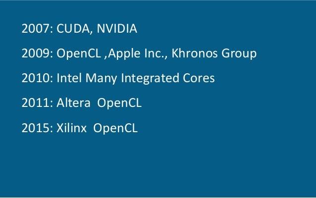 2007:  CUDA,  NVIDIA      2009:  OpenCL  ,Apple  Inc.,  Khronos  Group   2010:  Intel  Many  Int...
