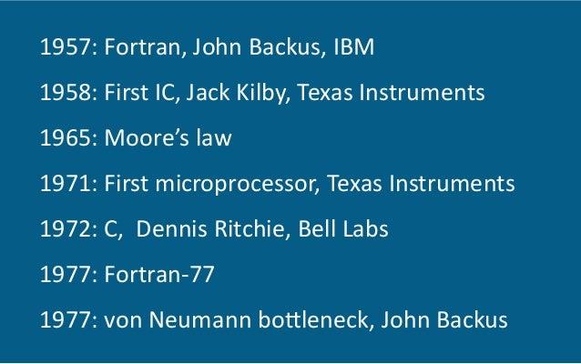 1957:  Fortran,  John  Backus,  IBM   1958:  First  IC,  Jack  Kilby,  Texas  Instruments   1965:...