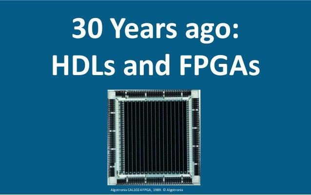 30  Years  ago:     HDLs  and  FPGAs   Algotronix  CAL1024  FPGA,  1989.  ©  Algotronix
