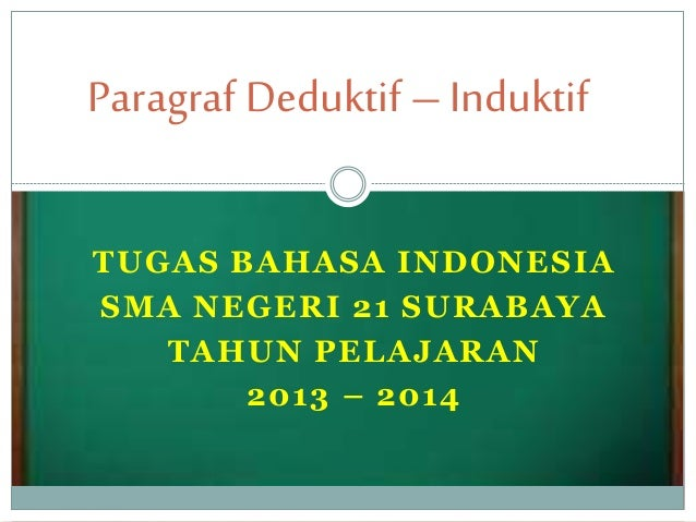 Paragraf Deduktif – Induktif  TUGAS BAHASA INDONESIA  SMA NEGERI 21 SURABAYA  TAHUN PELAJARAN  2013 – 2014