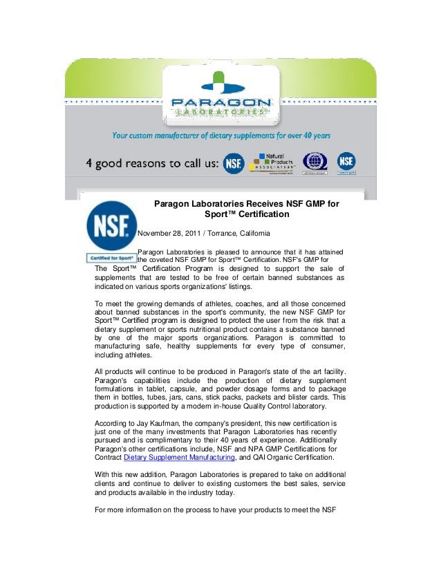 Paragon Laboratories Receives Nsf Gmp For Sport Final Sample