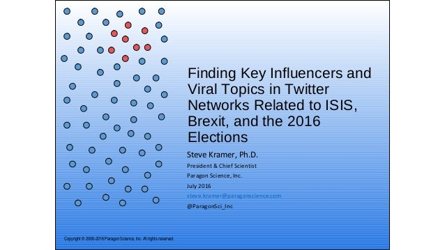 Finding Key Influencers and Viral Topics in Twitter Networks Related to ISIS, Brexit, and the 2016 Elections Steve Kramer,...