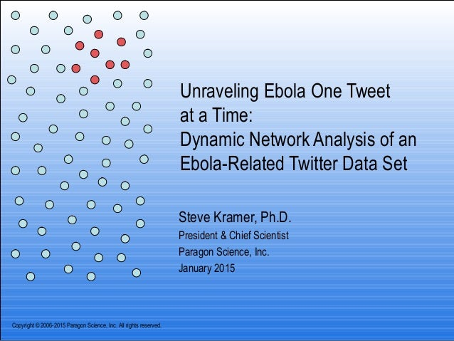 Unraveling Ebola One Tweet at a Time: Dynamic Network Analysis of an Ebola-Related Twitter Data Set Steve Kramer, Ph.D. Pr...