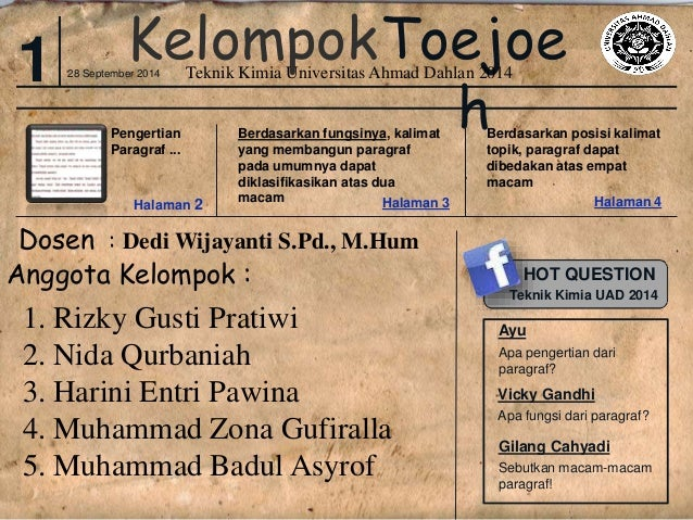 KelompokToejoe  Teknik Kimia Universitas Ahmad Dahlan 2014  h  1 28 September 2014  Pengertian  Paragraf ...  Halaman 2  B...