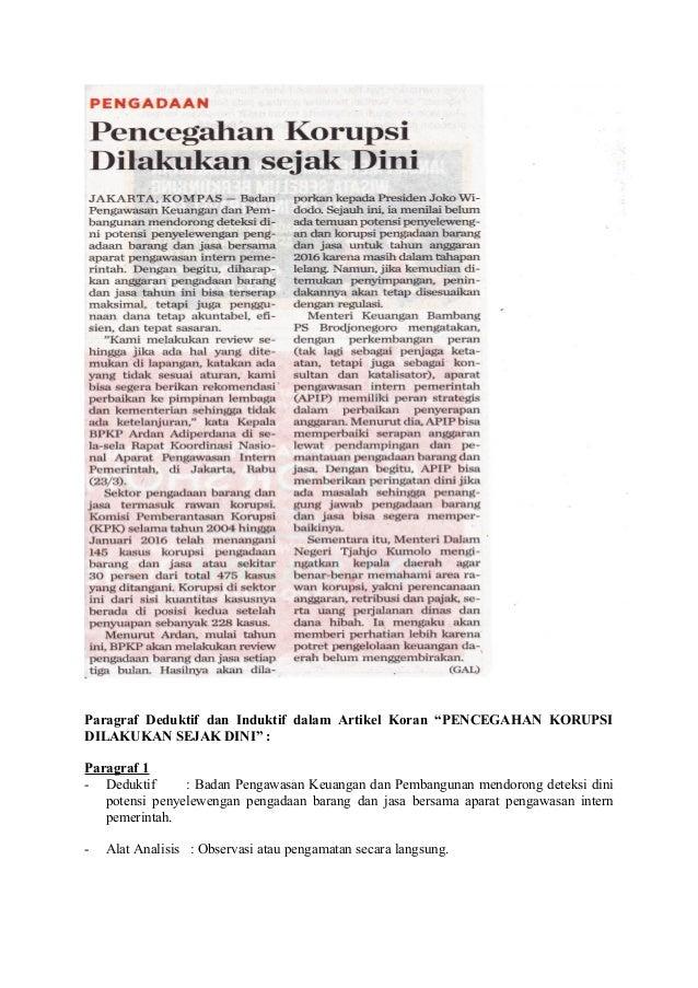 """Paragraf Deduktif dan Induktif dalam Artikel Koran """"PENCEGAHAN KORUPSI DILAKUKAN SEJAK DINI"""" : Paragraf 1 - Deduktif : Bad..."""