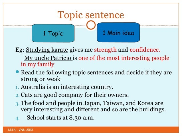 topic sentence about family