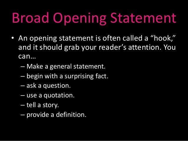 opening statement example for essays