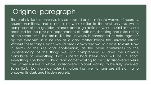example of paragraph by analogy Analogy paragraph this paragraph develops an idea by means of a comparison with a similar idea(note that analogy is a useful tool, but using it.
