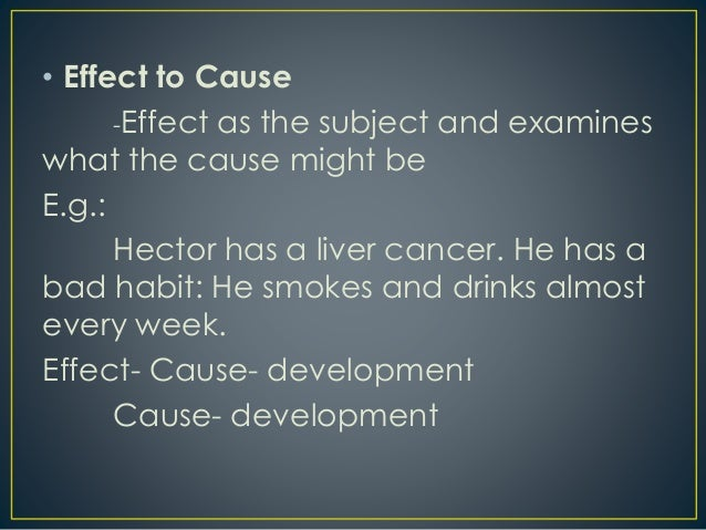 cause and effect paragraphs Having the skill to think in the mode of cause and effect is a key to victory in daily  situations a cause and effect paragraph analyzes the causes or effects of a.