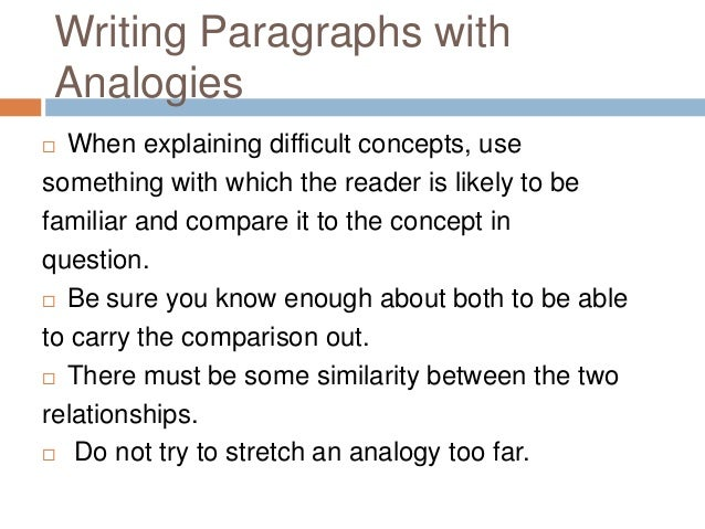 Paragraph Development By Analogy