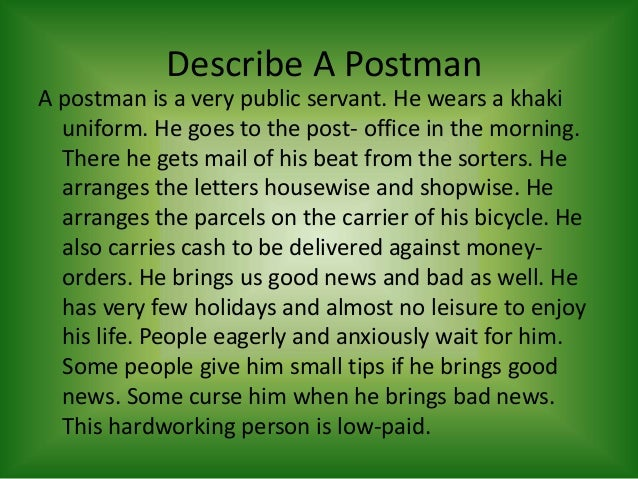 postman essay for kids