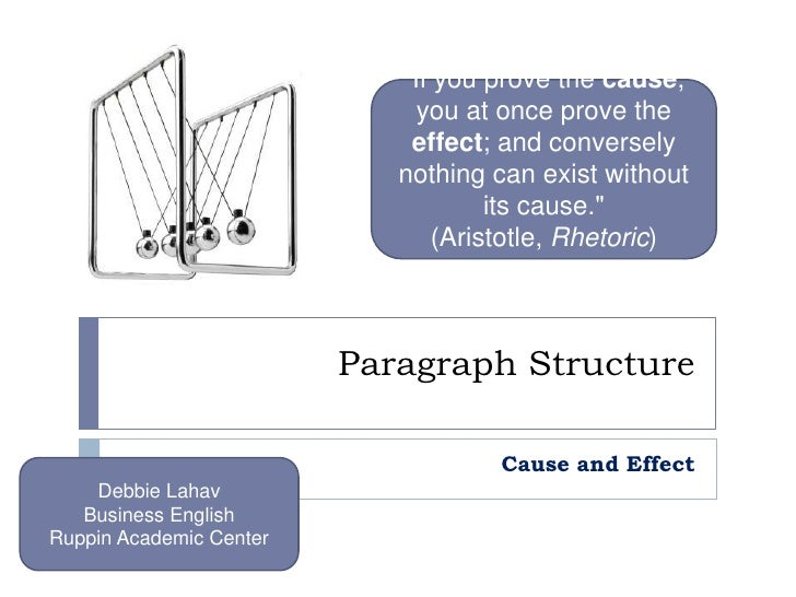 """Paragraph Structure<br />Cause and Effect<br />""""If you prove the cause, you at once prove the effect; and conversely ..."""