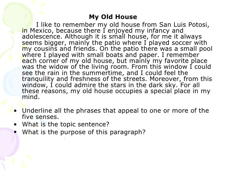 Write a paragraph about my house