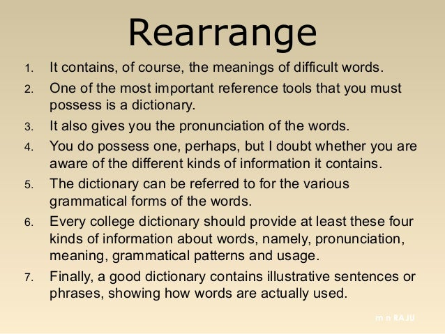 Rearranging sentences in a paragraph for an essay