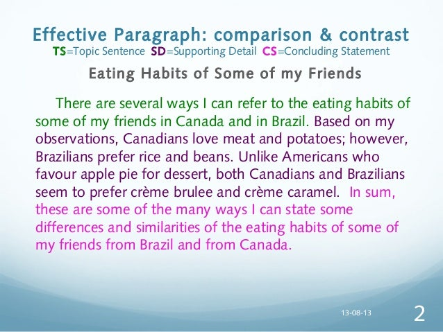 compare contrast essays paragraphs Introductory paragraph (include hook, background, topic, and finally thesis  sentence  here are the two common ways to organize comparison/contrast  essays.