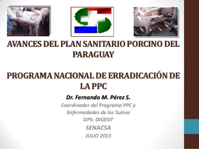AVANCES DEL PLAN SANITARIO PORCINO DEL PARAGUAY PROGRAMA NACIONAL DE ERRADICACIÓN DE LA PPC Dr. Fernando M. Pérez S. Coord...