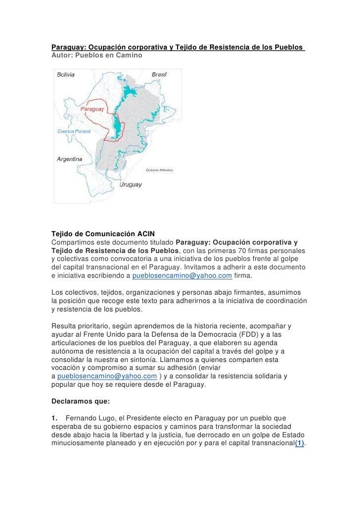 Paraguay: Ocupación corporativa y Tejido de Resistencia de los PueblosAutor: Pueblos en CaminoTejido de Comunicación ACINC...