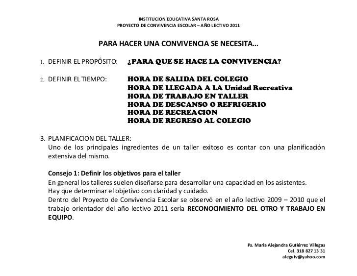 INSTITUCION EDUCATIVA SANTA ROSA                           PROYECTO DE CONVIVENCIA ESCOLAR – AÑO LECTIVO 2011             ...