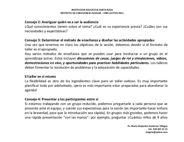 INSTITUCION EDUCATIVA SANTA ROSA                       PROYECTO DE CONVIVENCIA ESCOLAR – AÑO LECTIVO 2011Consejo 2: Averig...